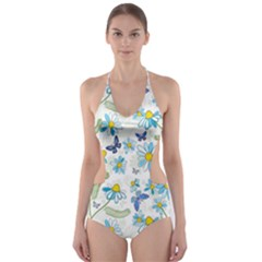 Flower Blue Butterfly Leaf Green Cut Out One Piece Swimsuit