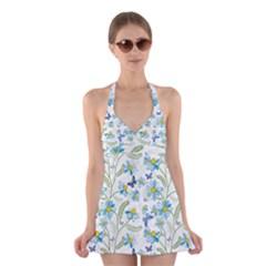 Flower Blue Butterfly Leaf Green Halter Swimsuit Dress