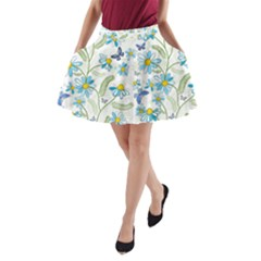 Flower Blue Butterfly Leaf Green A Line Pocket Skirt