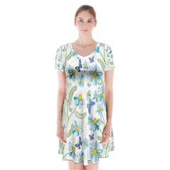 Flower Blue Butterfly Leaf Green Short Sleeve V Neck Flare Dress