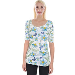 Flower Blue Butterfly Leaf Green Wide Neckline Tee