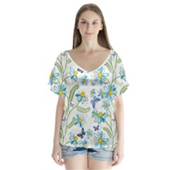 Flower Blue Butterfly Leaf Green V Neck Flutter Sleeve Top