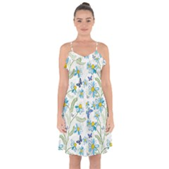 Flower Blue Butterfly Leaf Green Ruffle Detail Chiffon Dress