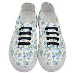 Flower Blue Butterfly Leaf Green Women s Classic Low Top Sneakers