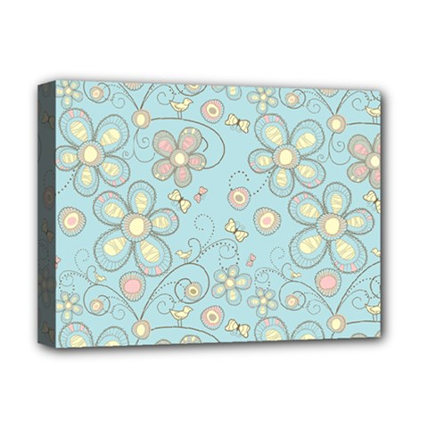 Flower Blue Butterfly Bird Yellow Floral Sexy Deluxe Canvas 16  X 12