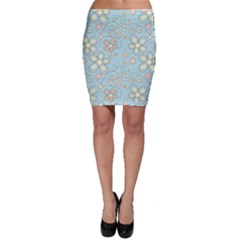 Flower Blue Butterfly Bird Yellow Floral Sexy Bodycon Skirt