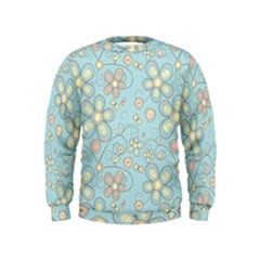 Flower Blue Butterfly Bird Yellow Floral Sexy Kids  Sweatshirt