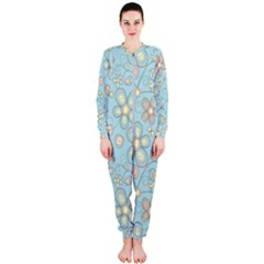 Flower Blue Butterfly Bird Yellow Floral Sexy Onepiece Jumpsuit (ladies)
