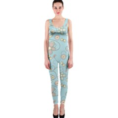 Flower Blue Butterfly Bird Yellow Floral Sexy Onepiece Catsuit