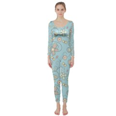 Flower Blue Butterfly Bird Yellow Floral Sexy Long Sleeve Catsuit