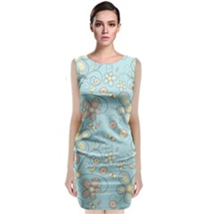 Flower Blue Butterfly Bird Yellow Floral Sexy Classic Sleeveless Midi Dress