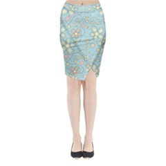 Flower Blue Butterfly Bird Yellow Floral Sexy Midi Wrap Pencil Skirt