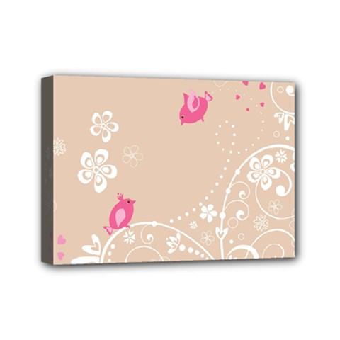 Flower Bird Love Pink Heart Valentine Animals Star Mini Canvas 7  X 5