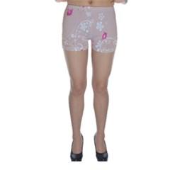 Flower Bird Love Pink Heart Valentine Animals Star Skinny Shorts