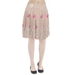 Flower Bird Love Pink Heart Valentine Animals Star Pleated Skirt