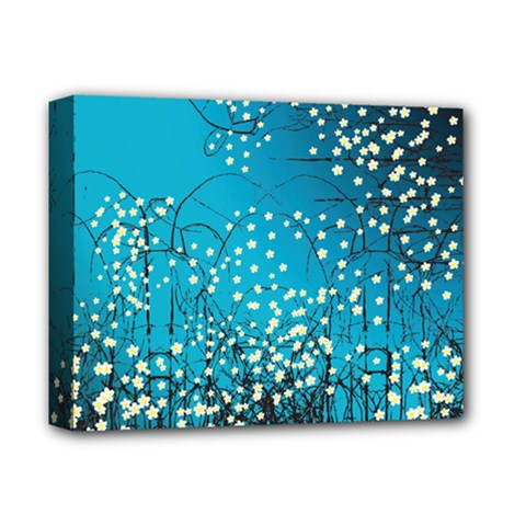 Flower Back Leaf River Blue Star Deluxe Canvas 14  X 11