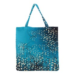 Flower Back Leaf River Blue Star Grocery Tote Bag