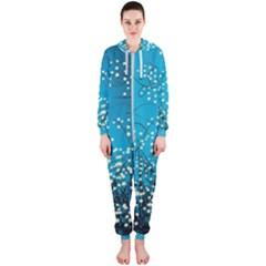 Flower Back Leaf River Blue Star Hooded Jumpsuit (ladies)