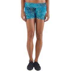 Flower Back Leaf River Blue Star Yoga Shorts