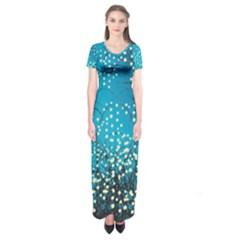 Flower Back Leaf River Blue Star Short Sleeve Maxi Dress