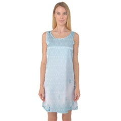 Flower Blue Polka Plaid Sexy Star Love Heart Sleeveless Satin Nightdress