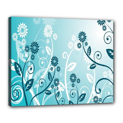 Flower Blue River Star Sunflower Canvas 20  X 16