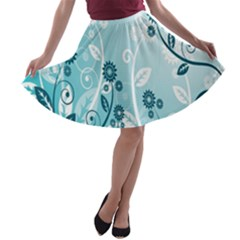 Flower Blue River Star Sunflower A Line Skater Skirt