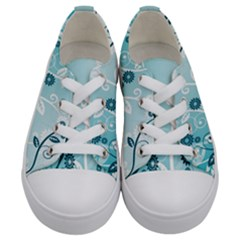 Flower Blue River Star Sunflower Kids  Low Top Canvas Sneakers