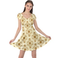 Flower Brown Star Rose Cap Sleeve Dress