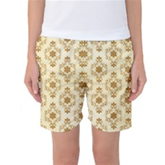 Flower Brown Star Rose Women s Basketball Shorts