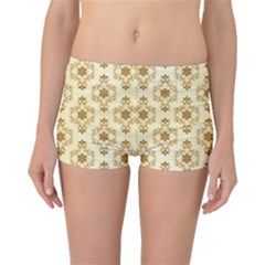 Flower Brown Star Rose Boyleg Bikini Bottoms