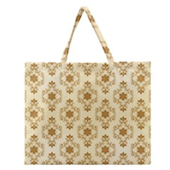 Flower Brown Star Rose Zipper Large Tote Bag