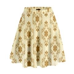 Flower Brown Star Rose High Waist Skirt