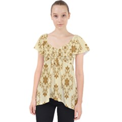 Flower Brown Star Rose Lace Front Dolly Top