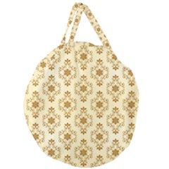 Flower Brown Star Rose Giant Round Zipper Tote