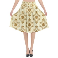 Flower Brown Star Rose Flared Midi Skirt