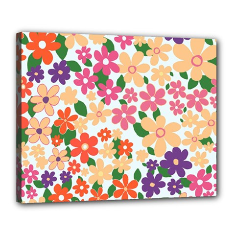 Flower Floral Rainbow Rose Canvas 20  X 16