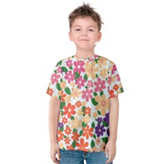 Flower Floral Rainbow Rose Kids  Cotton Tee