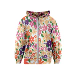 Flower Floral Rainbow Rose Kids  Zipper Hoodie