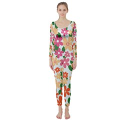 Flower Floral Rainbow Rose Long Sleeve Catsuit