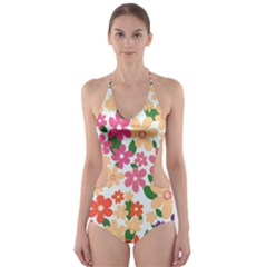 Flower Floral Rainbow Rose Cut Out One Piece Swimsuit