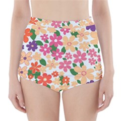 Flower Floral Rainbow Rose High Waisted Bikini Bottoms