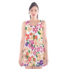 Flower Floral Rainbow Rose Scoop Neck Skater Dress