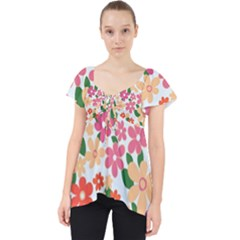Flower Floral Rainbow Rose Lace Front Dolly Top