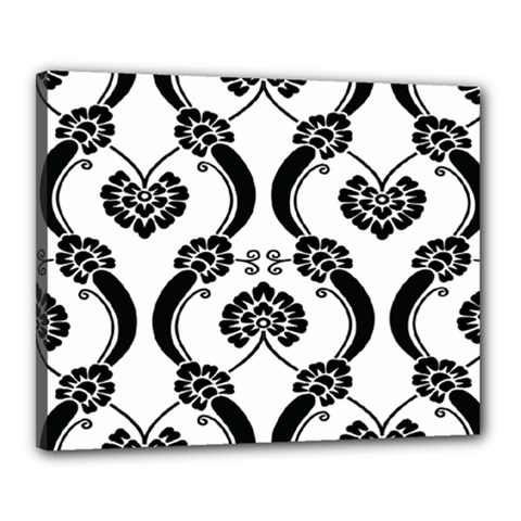 Flower Floral Black Sexy Star Black Canvas 20  X 16