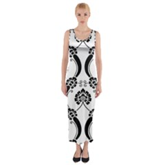 Flower Floral Black Sexy Star Black Fitted Maxi Dress