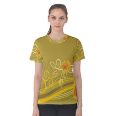 Flower Floral Yellow Sunflower Star Leaf Line Gold Women s Cotton Tee
