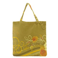 Flower Floral Yellow Sunflower Star Leaf Line Gold Grocery Tote Bag