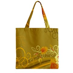 Flower Floral Yellow Sunflower Star Leaf Line Gold Zipper Grocery Tote Bag