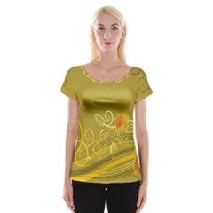 Flower Floral Yellow Sunflower Star Leaf Line Gold Cap Sleeve Tops
